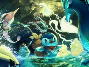 Rating: Safe Score: 76 Tags: bulbasaur gorebyss huntail kingdra mantine octillery pikachu piplup pokemon sharpedo starmie torchic tori_otoko water User: opai