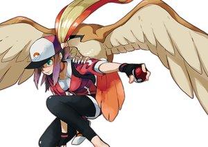 Rating: Safe Score: 38 Tags: animal bird brown_hair doushimasho female_protagonist_(pokemon_go) gloves green_eyes hat pidgeot pokemon ponytail short_hair shorts User: RyuZU