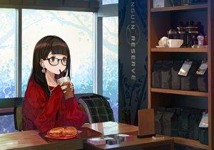 Rating: Safe Score: 209 Tags: aliasing brown_eyes brown_hair drink food glasses headphones long_hair original yuu_(higashi_no_penguin) User: RyuZU