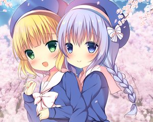 Rating: Safe Score: 22 Tags: 2girls blonde_hair blush bow braids cherry_blossoms cropped gochuumon_wa_usagi_desu_ka? green_eyes hat hug kafuu_chino kirima_sharo loli long_hair niki_(aroma_terrace) petals short_hair waifu2x User: RyuZU