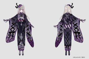 Rating: Safe Score: 42 Tags: aliasing cross feathers gloves goth-loli gray_hair hat japanese_clothes kimono lolita_fashion long_hair necklace red_eyes ribbons rozen_maiden shikimi_(yurakuru) suigintou User: otaku_emmy