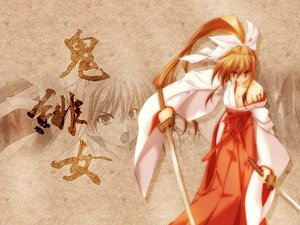 Rating: Safe Score: 10 Tags: japanese_clothes miko sword tagme weapon User: Oyashiro-sama