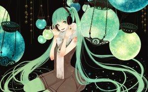 Rating: Safe Score: 43 Tags: green_eyes green_hair hatsune_miku headphones long_hair mikumix skirt space twintails vocaloid User: HawthorneKitty
