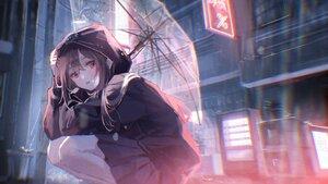 Rating: Safe Score: 60 Tags: brown_hair building hoodie long_hair original oyuyu polychromatic rain red_eyes skirt umbrella water User: BattlequeenYume