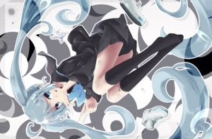 Rating: Safe Score: 26 Tags: akino_coto bandaid blue_eyes blue_hair cropped hatsune_miku kneehighs long_hair school_uniform skirt twintails vocaloid User: otaku_emmy