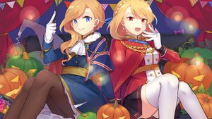 Rating: Safe Score: 43 Tags: 2girls anthropomorphism azur_lane blonde_hair blue_eyes braids cape halloween hood_(azur_lane) long_hair mujun_atama pantyhose prince_of_wales_(azur_lane) pumpkin red_eyes short_hair skirt thighhighs User: RyuZU