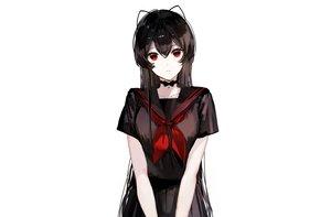 Rating: Safe Score: 67 Tags: bell black_hair bow choker long_hair naru_(ul) original polychromatic red_eyes school_uniform skirt third-party_edit white User: otaku_emmy