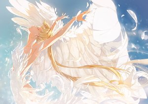 Rating: Safe Score: 56 Tags: blonde_hair dress feathers marmalade_(elfless_vanilla) neo_queen_serenity sailor_moon sky tsukino_usagi twintails watermark wings User: BattlequeenYume