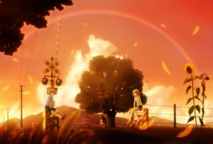 Rating: Safe Score: 40 Tags: blonde_hair clouds flowers grass gray_eyes hirobakar jpeg_artifacts kagamine_len kagamine_rin leaves male polychromatic rainbow short_hair shorts sky sunflower sunset tree vocaloid User: korokun