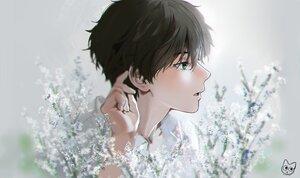 Rating: Safe Score: 34 Tags: all_male brown_hair close flowers green_eyes hyouka male mery_(apfl0515) oreki_houtarou polychromatic shirt short_hair signed User: otaku_emmy