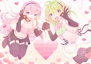 Rating: Safe Score: 39 Tags: 2girls amakawatamawono blue_eyes breasts choker cleavage earmuffs elbow_gloves gloves green_hair gumi happy_synthesizer_(vocaloid) heart long_hair megurine_luka microphone navel pantyhose pink_hair short_hair skirt stockings vocaloid wristwear User: mattiasc02