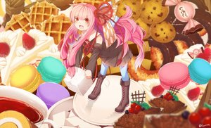Rating: Safe Score: 31 Tags: boots cake food fruit kotonoha_akane long_hair pink_hair red_eyes signed tagme_(artist) thighhighs voiceroid User: luckyluna