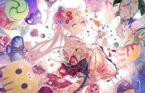 Rating: Safe Score: 98 Tags: blonde_hair flowers japanese_clothes kimono kinokohime_(mican02rl) long_hair original ponytail User: BattlequeenYume