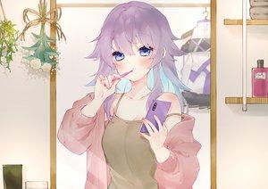 Rating: Safe Score: 53 Tags: blue_eyes bora_nun chiyomaru_(yumichiyo0606) close long_hair nijisanji phone purple_hair User: BattlequeenYume