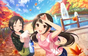 Rating: Safe Score: 40 Tags: 2girls annin_doufu autumn brown_eyes brown_hair clouds drink hoodie idolmaster idolmaster_cinderella_girls idolmaster_cinderella_girls_starlight_stage leaves long_hair nakano_yuka park ponytail shorts sky tagme_(character) towel twintails water User: luckyluna