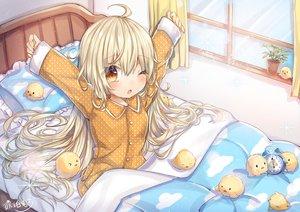 Rating: Safe Score: 12 Tags: animal bed bird blonde_hair blush brown_eyes kohaku_muro loli long_hair original pajamas signed tears wink User: sadodere-chan
