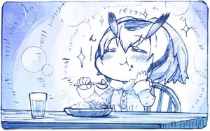 Rating: Safe Score: 29 Tags: anthropomorphism blue blush drink food kemono_friends monochrome northern_white-faced_owl_(kemono_friends) sakino_shingetu short_hair sketch User: otaku_emmy