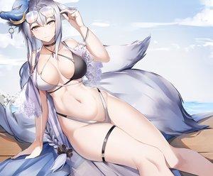 Rating: Safe Score: 116 Tags: animal_ears anthropomorphism azur_lane bikini foxgirl lubikaya1 mask multiple_tails sunglasses swimsuit tail tosa_(azur_lane) User: Fepple