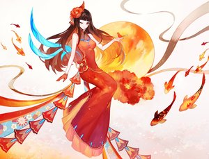 Rating: Safe Score: 59 Tags: animal bird bow breasts brown_hair chinese_clothes chinese_dress dress fish gloves long_hair moemoe3345 original red_eyes wink User: RyuZU
