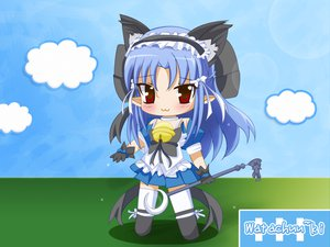 Rating: Safe Score: 7 Tags: animal_ears bell blue_hair blush bow catgirl cat_smile chibi gloves headdress pointed_ears red_eyes ribbons thighhighs User: 秀悟