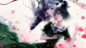 Rating: Safe Score: 68 Tags: 2girls dress flowers hat hug_(yourhug) mononobe_no_futo petals short_hair shoujo_ai soga_no_tojiko touhou User: Flandre93