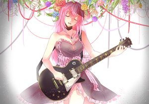 Rating: Safe Score: 193 Tags: dress flowers guitar instrument long_hair megurine_luka necklace pink_hair ribbons vocaloid zi_roland User: FormX