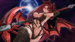 Rating: Safe Score: 99 Tags: breasts cleavage elbow_gloves epis_(king's_raid) gloves horns king's_raid long_hair navel night planet red_eyes red_hair sky stars tagme_(artist) tail thighhighs weapon wings User: BattlequeenYume