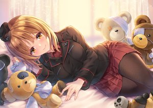 Rating: Safe Score: 60 Tags: blush brown_eyes brown_hair girls_und_panzer makirin nishizumi_miho pantyhose short_hair skirt teddy_bear uniform User: RyuZU