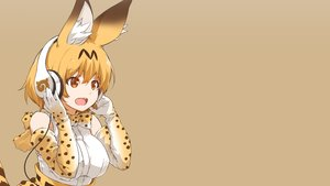 Rating: Safe Score: 59 Tags: animal_ears anthropomorphism blonde_hair bow breasts elbow_gloves gloves gradient headphones kemono_friends nanaku_teiru orange_eyes serval short_hair tail third-party_edit User: Hakha
