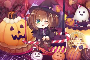 Rating: Safe Score: 23 Tags: animal bat blush book boots bow brown_hair cake candy cape chibi food green_eyes halloween hat original pumpkin ribbons short_hair suzune_rena tail wings wink witch_hat User: RyuZU