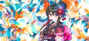 Rating: Safe Score: 58 Tags: animal black_hair blush bow braids butterfly fan fish flowers japanese_clothes original purple_eyes ribbons signed umbrella urim_(paintur) yukata User: otaku_emmy