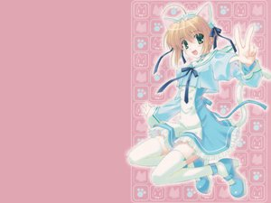 Rating: Safe Score: 24 Tags: animal animal_ears blonde_hair bow cat catgirl comp_ace dress jpeg_artifacts nanao_naru short_hair tail thighhighs User: Oyashiro-sama