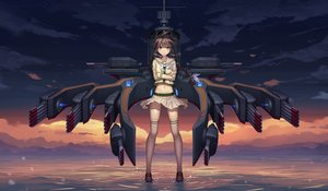 Rating: Safe Score: 134 Tags: anthropomorphism athrun1120 braids kantai_collection kitakami_(kancolle) kneehighs long_hair navel seifuku skirt sunset water weapon zettai_ryouiki User: Flandre93