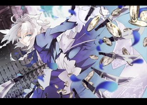 Rating: Safe Score: 65 Tags: blue_eyes bow dress gloves headdress izayoi_sakuya karlwolf knife maid touhou weapon white_hair User: opai