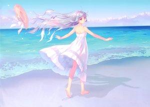 Rating: Safe Score: 78 Tags: anthropomorphism barefoot beach carnelian dress gray_hair hat kantai_collection long_hair scan summer_dress tagme_(character) water User: RyuZU