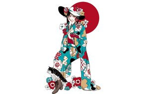 Rating: Safe Score: 32 Tags: black_eyes black_hair boots flowers hat japanese_clothes kimono original polychromatic short_hair tagme_(artist) white User: otaku_emmy