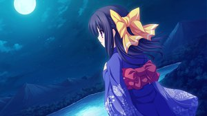 Rating: Safe Score: 40 Tags: black_hair game_cg japanese_clothes kimono lunaris_filia minase_yukari moon purple_eyes stars whirlpool User: ホタル