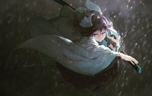 Rating: Safe Score: 65 Tags: blue_eyes japanese_clothes katana kimono kisei2 original purple_hair rain sword water weapon User: BattlequeenYume