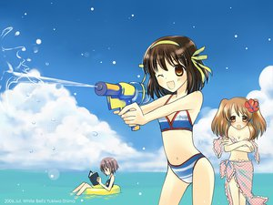 Rating: Safe Score: 34 Tags: asahina_mikuru bikini brown_eyes brown_hair nagato_yuki suzumiya_haruhi suzumiya_haruhi_no_yuutsu swimsuit wink User: Oyashiro-sama