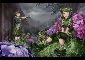 Rating: Safe Score: 52 Tags: animal boots clouds frog gloves goggles green_eyes green_hair hakura_kusa headband hoodie leaves original rain tree water wet User: Flandre93