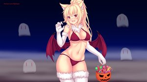 Rating: Safe Score: 78 Tags: animal_ears bikini blonde_hair breasts catgirl cleavage elbow_gloves erect_nipples fang fast-runner-2024 gloves halloween orange_eyes original photoshop ponytail swimsuit thighhighs tiffy watermark wings User: gnarf1975