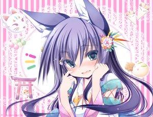 Rating: Safe Score: 48 Tags: animal animal_ears blush flowers food fox green_eyes japanese_clothes long_hair mask original purple_hair tenmu_shinryuusai torii User: RyuZU