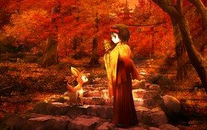 Rating: Safe Score: 78 Tags: autumn brown_hair deerling erika_(pokemon) forest headband japanese_clothes kimono leaves pokemon red_eyes ribero short_hair stairs sunset torii tree User: STORM