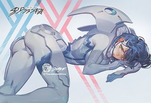 Rating: Safe Score: 35 Tags: ass blue_hair blush bodysuit darling_in_the_franxx green_eyes ichigo_(darling_in_the_franxx) jet_kimchrea short_hair skintight waifu2x watermark User: BattlequeenYume