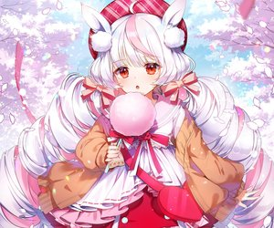 Rating: Safe Score: 65 Tags: animal_ears applecaramel_(acaramel) bow candy cropped flowers hat lolita_fashion long_hair original petals red_eyes ribbons twintails white_hair User: otaku_emmy
