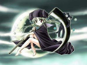 Rating: Safe Score: 10 Tags: animal barefoot cape cat hat moon red_eyes scythe stars suika weapon User: Oyashiro-sama