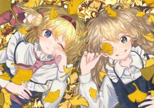 Rating: Safe Score: 31 Tags: 2girls alice_margatroid autumn blonde_hair blue_eyes braids doll green_eyes headband kirisame_marisa leaves long_hair meeeeeji shanghai_doll short_hair sleeping touhou wink User: otaku_emmy