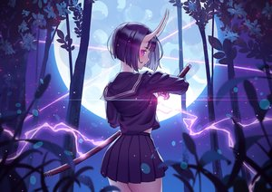 Rating: Safe Score: 44 Tags: demon fate/grand_order fate_(series) forest horns katana magic moon purple_eyes purple_hair rhasta school_uniform short_hair shuten_douji_(fate) skirt sword tree weapon User: BattlequeenYume