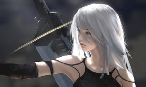 Rating: Safe Score: 496 Tags: aqua_eyes long_hair nier nier:_automata sword weapon white_hair wlop yorha_unit_no._2_type_a User: RyuZU