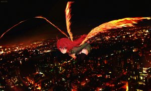 Rating: Safe Score: 84 Tags: building city dyolf fire long_hair night red_eyes red_hair seifuku shakugan_no_shana shana signed sword thighhighs weapon wings zettai_ryouiki User: luckyluna